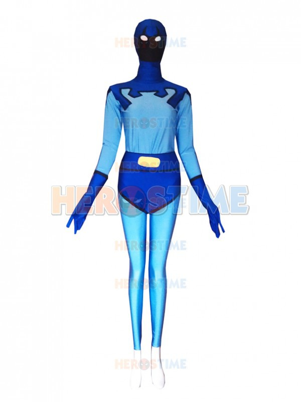 ᗑFemale Version Blue Beetle Costume Spandex Halloween Cosplay ...