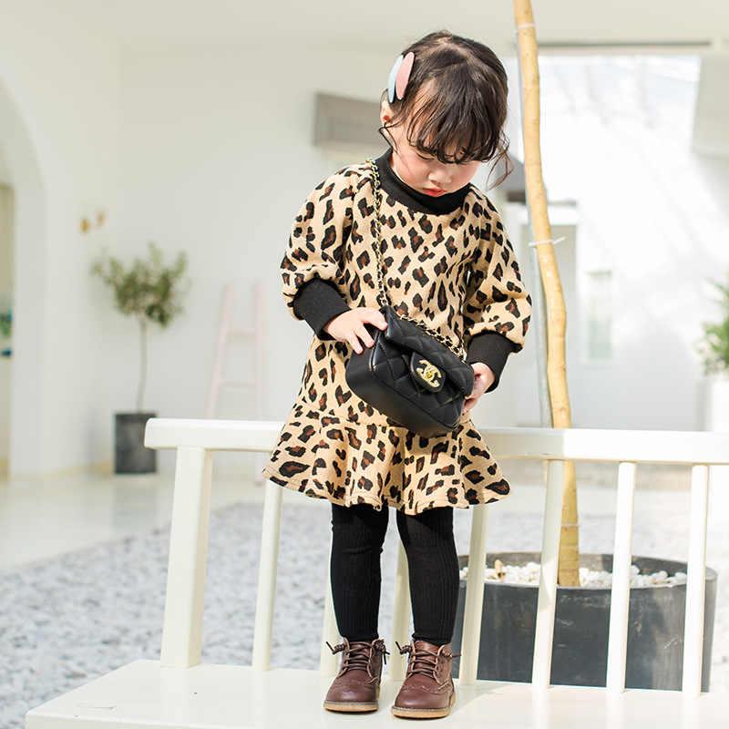 97bba951ae471f6 Леопардовое платье для девочек, новинка 2019 года, корейская детская  одежда, платья принцессы с