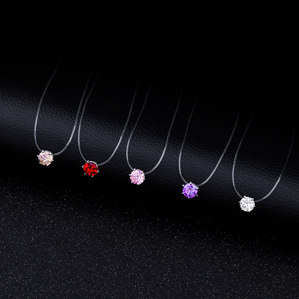 Invisible Chain Necklace Choker Collier Transparent Zircon Pendant Fish Line Short Chunky Initial Necklaces Women Collares Mujer