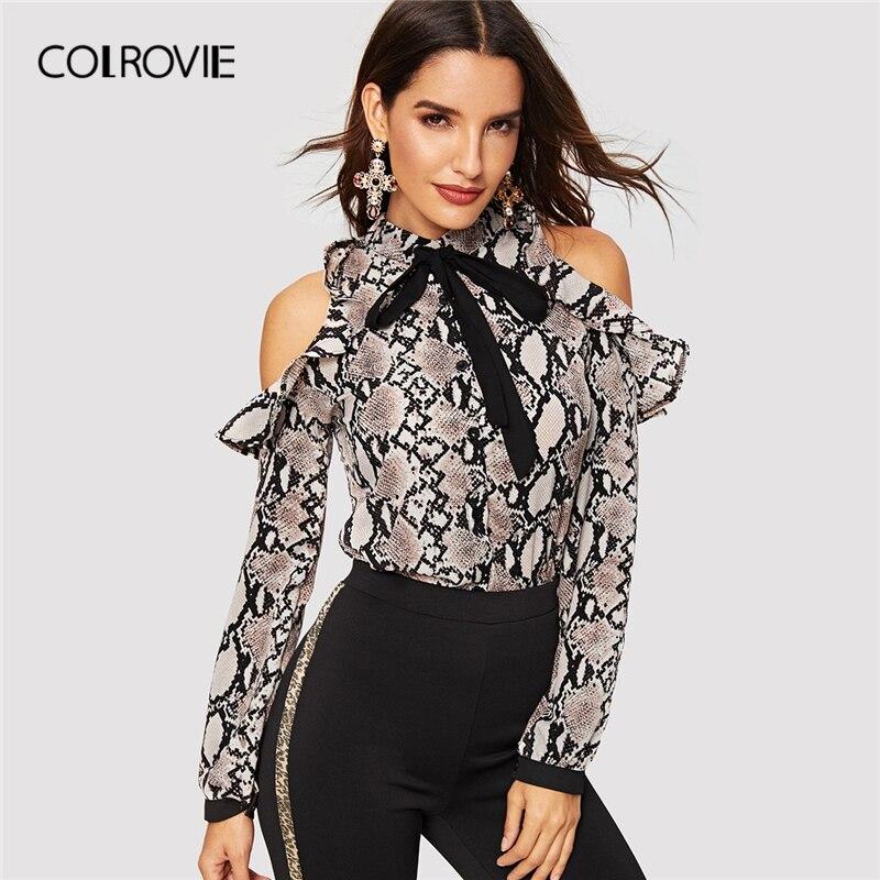 COLROVIE Tie Neck Cold Shoulder Snake Skin Print Blouse 181114413