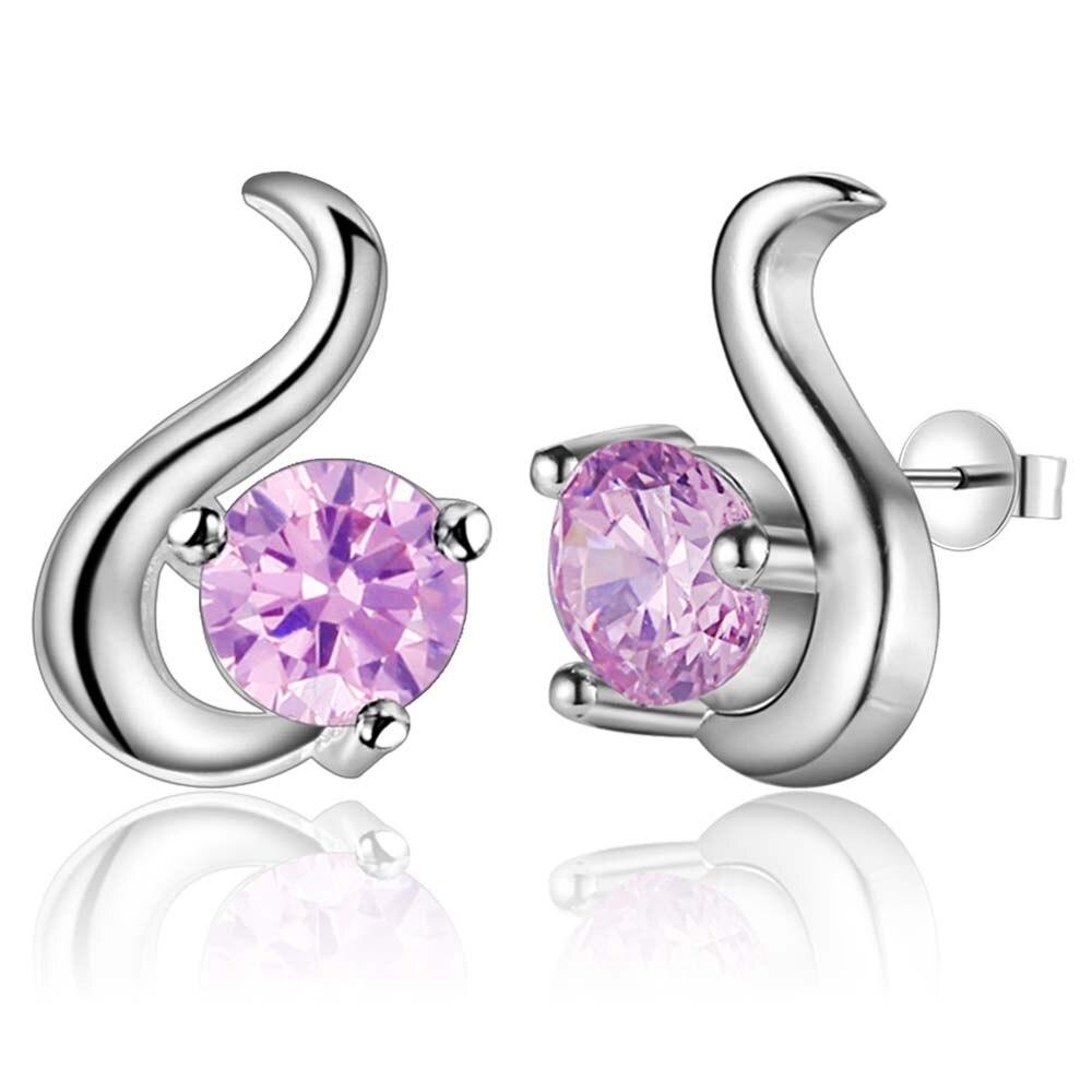Earrings Cute Cartoon Pink Zircon Top Quality Free Shipping Silver Plated Earrings For Women Fashion Jewelry /soezwpcg Yxsvxmaq Diversified Latest Designs