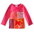 T-shirt da menina de varejo nova crianças bbay menina roupas princesa algodão borboleta impressão t-shirt da menina 2016 nova crianças usam roupas