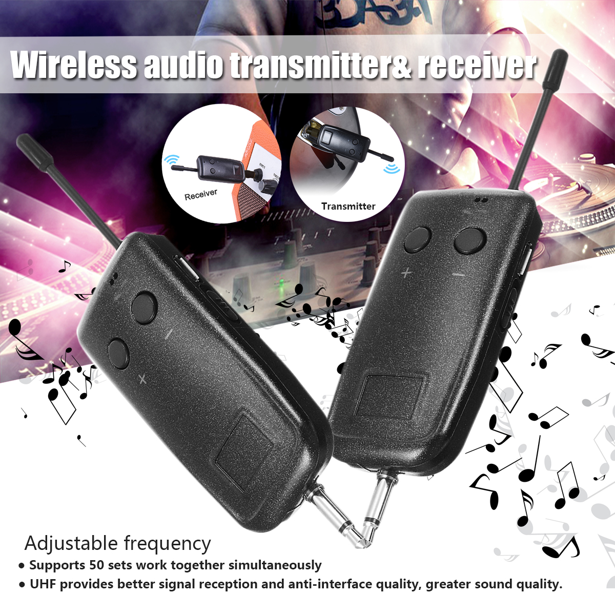 UHF Wireless Audio Transmitter Receiver System For Guitar Electric Instrument Portable 40/60m Adjustable Frequency Lightweight самокат next gt 4105p blue