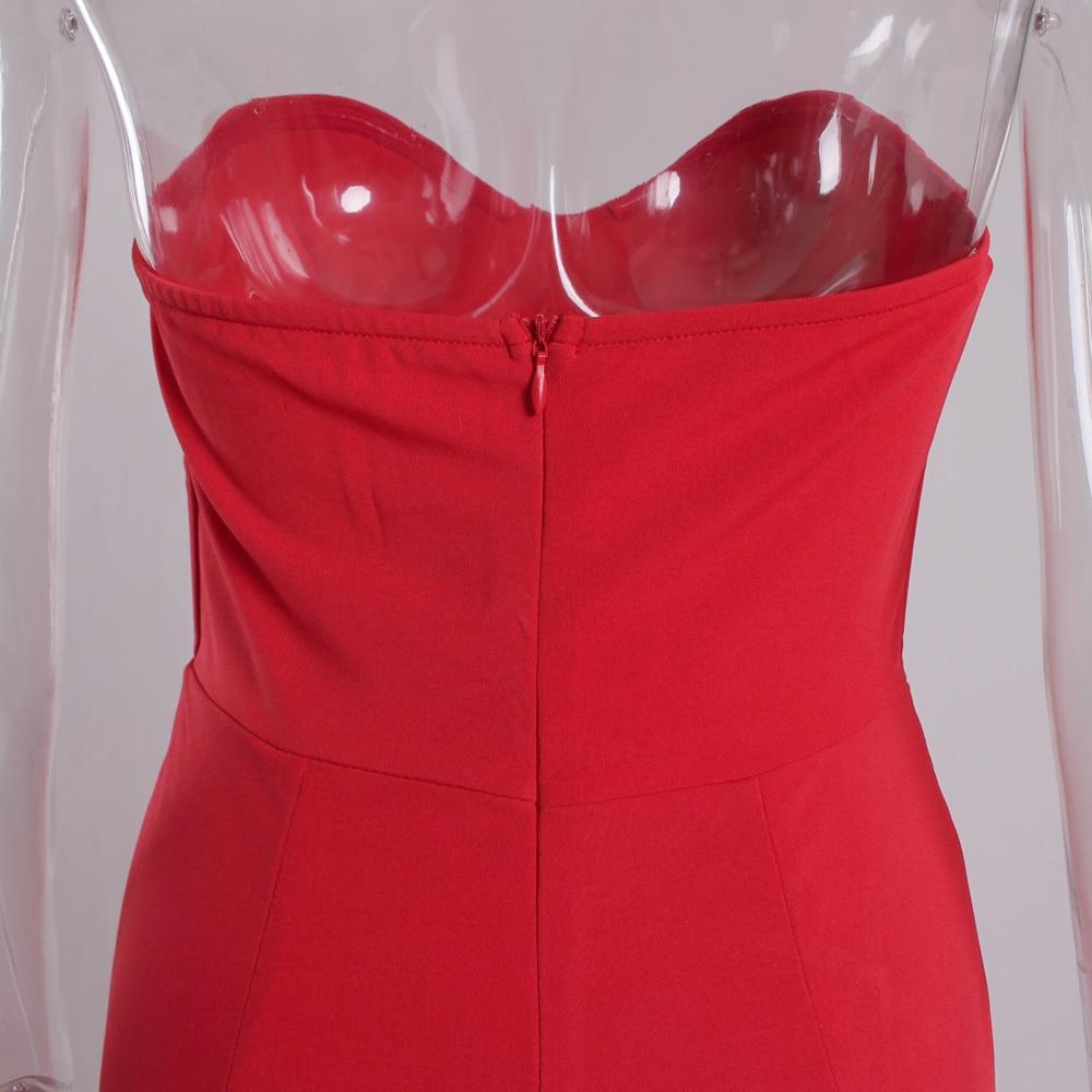 Strapless Split Front  Mermaid Sleeveless Elegant Dress 11