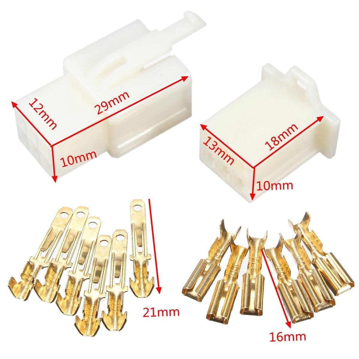 5x 3 Way 3P Pin 2.8mm Mini Connector Terminal Kit Kits For Honda Motorcycle Boat