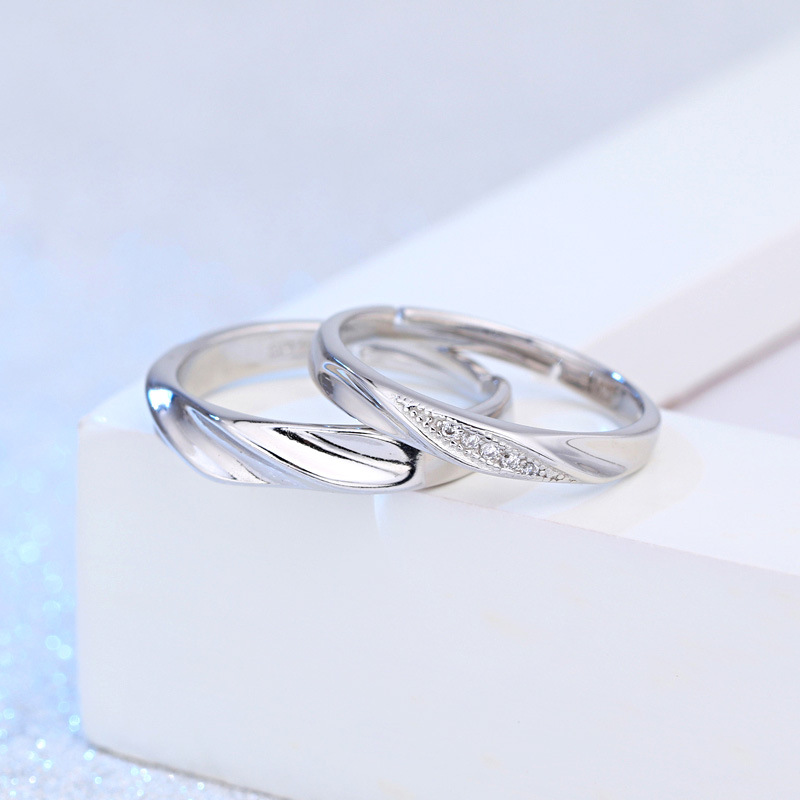 100 925 sterling silver new fashion shiny crystal lovers couple wedding rings jewelry female men s open ring finger gift cheap in Engagement Rings from Jewelry Accessories