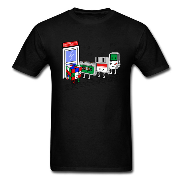 bb74c1ac873c Employment Office Tshirt For Men Funny Summer T Shirts Game Devices Cartoon  T-shirt Cube Cassette Chip Tops Tees Retro