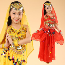 Child Bellydance Costume Set Tribal Dance Costume Indian Girl Clothing Danza Del Vientre Tribal Bindi Indian Clothing Wholesale