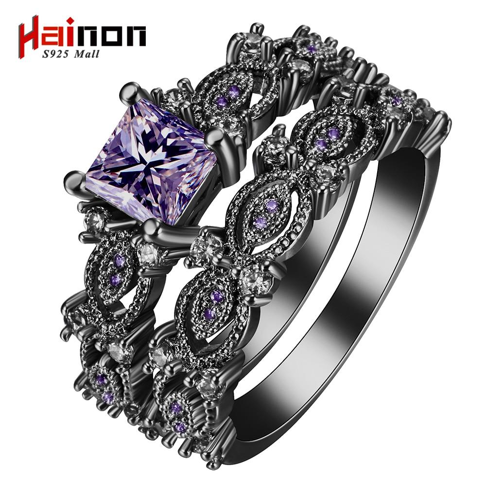 sort sølvforgylte ringer setter blå rosa hvit lilla farge zirkon trendy nye mote smykker gave prinsesse forlovelsesringer