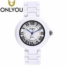OONLYOU 2017 Quartz Watches Brand White Ceramic Watch Mens Womens Wrist Bracelet Boys Girls Fashion Casual Watch Couple Clock