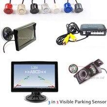 5 «HD 800*480 Цветной ЖК-Монитор Автомобиля + 7 СВЕТОДИОДНЫХ ИК 170 Ночного Видения Заднего Вида Камеры + Визуальный Помощь Датчик Парковки