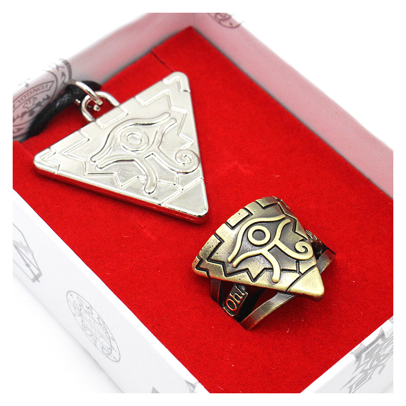 2 Pieces / Sets Of Anime Game Accessories Yu GI Oh Rings Necklace Kit COSPLAY Kids Toys Gifts