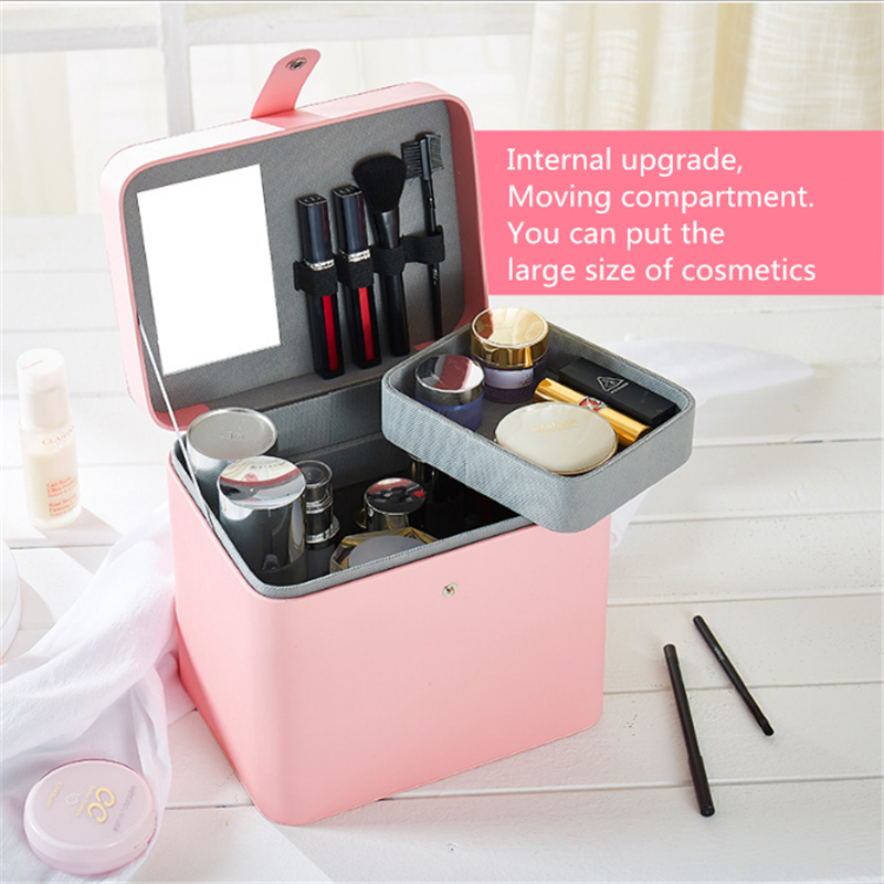 SIBAOLU Korean Portable Jewelry Box Large Capacity Storage Box Leather Craft Makeup Organizer Eco-friendly PU Gift Box For Girl