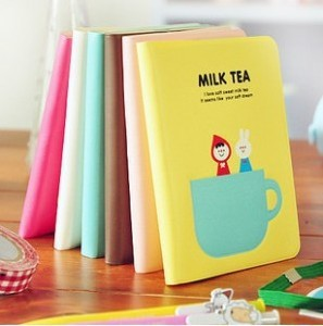 free shipping 8.5*11.5cm multicolor Cute milk tea Diary book Notebook Note pad Memo(1piece)(PVC cover)