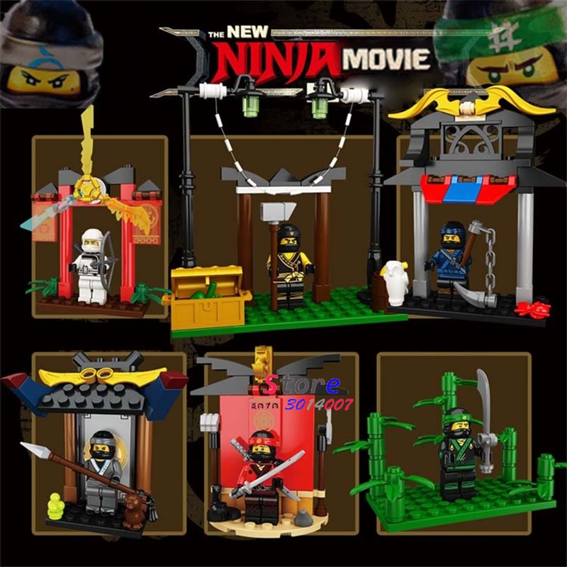 6pcs NEW Hot Ninja Movie Temple of Airjitzu Spinjitzu Training Lloyd Kai Cole Jay Nya Zane building blocks toys for children 2017 new single ninja movie nadakhan dogshank kai jay cole zane nya lloyd building brick toys x0112 x0118