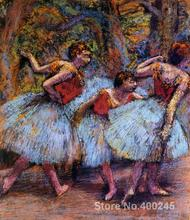 Painting for sale Three Dancers Blue Skirts Red Blouses by Edgar Degas Canvas High quality Hand painted