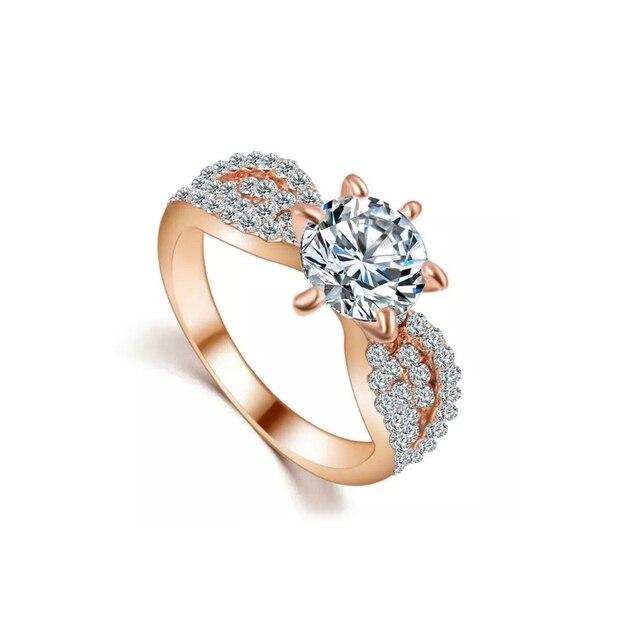 78d0bd6c576d Boda de compromiso brillante Cubic Zirconia CZ señora joyería nupcial anillo  de dedo
