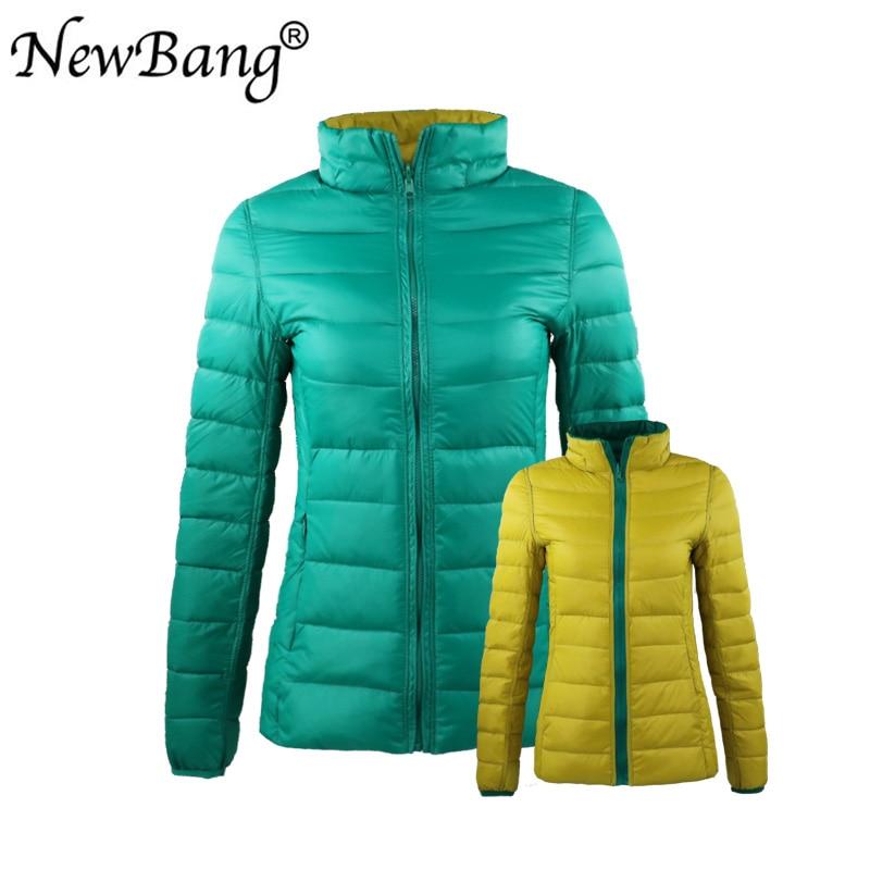 NewBang 4XL 5XL 6XL Women's Down Coat Ultra Light Down Jacket Women With Carry Bag Travel Double Side Reversible Jackets Plus