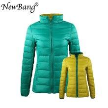 NewBang 4XL 5XL 6XL для женщин пуховое пальто ультра легкий пуховик с сумкой для переноски путешествия Двусторонняя Реверсивные куртки плюс