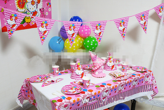 5ffb2493d 58pcs/set Pink Luxury Hello Kitty Party Supplies Kids Birthday Party Packs  Baby Shower Party Decorations Invitation/Table Cloth