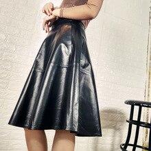 New Women Long Sheepskin Skirt