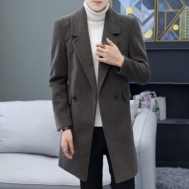 НОВЫЙ Тренч мужское ветровки куртки мужские толстые теплые длинные пальто мужское однотонные однобортные мужские пальто Тренч для мужское