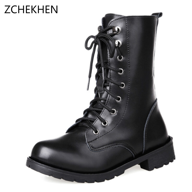 ФОТО 2017 New black leather Martin boots Ankle boots women shoes flat round toe motorcycle boots military combat boots