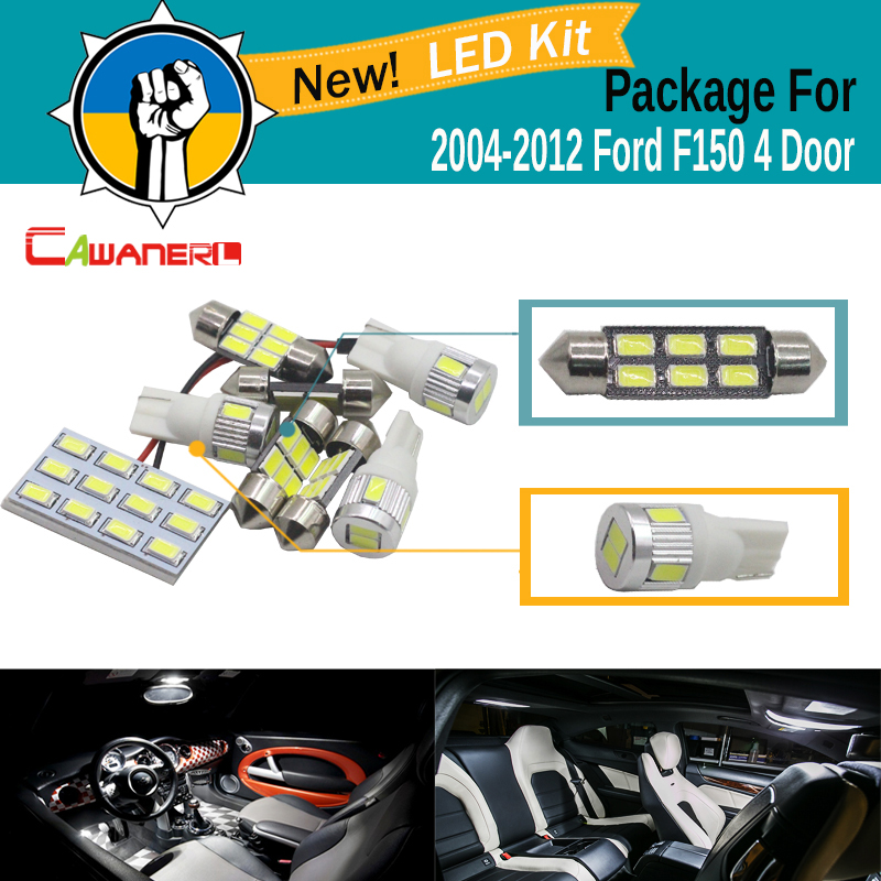 Cawanerl Car Interior Dome Map Trunk License Plate Light 5630 SMD LED Bulb LED Kit Package White For Ford F150 4 Door 2004-2012 cawanerl vehicle led package kit white car interior map dome license plate trunk lights for 2002 2008 dodge ram 1500