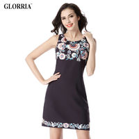 Glorria Women Elegant Colorful Print O Neck Sleeveless Dress Summer Casual Fashion Wear To Work Business