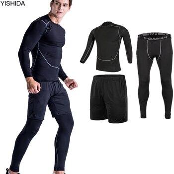 تجريب 3 قطع رياضة الدعاوى الرجال أجنحة رياضة الجري الجوارب اللياقة البدنية التدريب الركض ضغط تشغيل بذلات رياضية تناسب ضئيلة