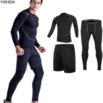 Entrenamiento 3 piezas de trajes de gimnasio para hombre de deporte Suites Running mallas entrenamiento Fitness Jogging compresión correr trajes chándales traje Delgado