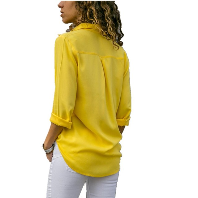 Lossky Women Tops Blouses 2018 Autumn Elegant Long Sleeve Solid V-Neck Chiffon Blouse Female Work Wear Shirts Blouse Plus Size   1