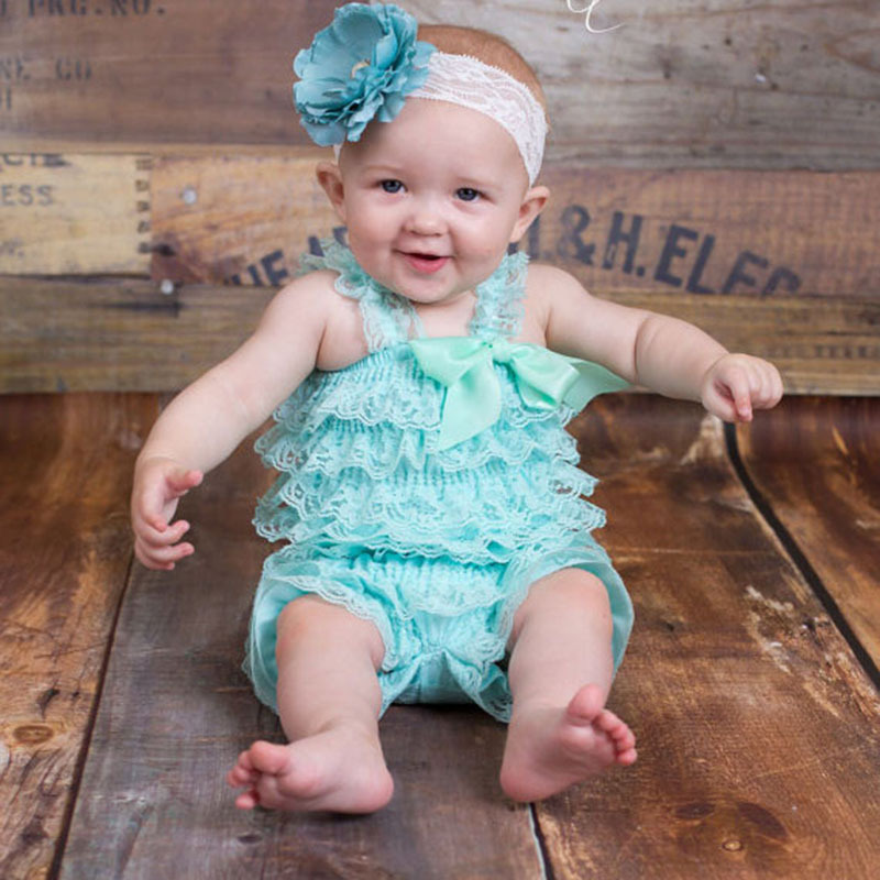 6e8373b34856 Lovely Baby Aqua Lace Romper Infant Toddler Petti Ruffled Romper with  Ribbon Bow and Flower Headband Newborn Jumpsuit One-Piece