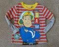 Nova chegada da primavera e do outono bombeiro sam tee para meninos moda dos desenhos animados manga longa t-shirt das crianças frete grátis