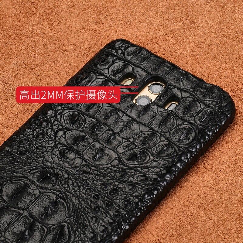 Piel de cocodrilo genuina funda de teléfono para Huawei Mate 10 funda trasera del teléfono cuero protector teléfono funda para Huawei P9 lite funda - 4