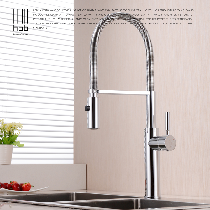 HPB Brass Brushed Nickel Pull Out Rotary Kitchen Faucet Mixer Tap for Sinks Single Handle Deck Mounted Hot And Cold Water HP4105 hpb pull out spray kitchen chrome brass swivel faucet spout sink mixer tap deck mounted hot and cold water single handle hp4102