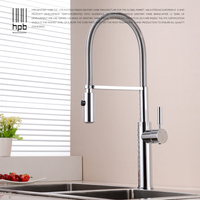 HPB Brass Brushed Nickel Pull Out Rotary Kitchen Faucet Mixer Tap for Sinks Single Handle Deck Mounted Hot And Cold Water HP4105