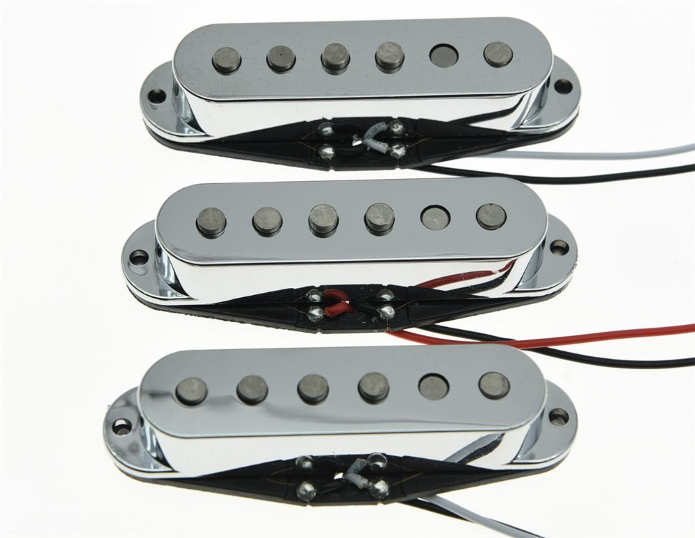 3x Chrome Alnico 5 Single Coil Pickups ST Strat SSS Pickup Set single coil pickup cover 1 volume 2 tone knobs switch tip for strat guitar replacement ivory 10 set