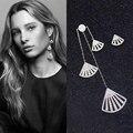 MIGGA Platinum Plated Cubic Zirconia Sectors Long Tassel Earrings for Women CZ Crystal Stud Earrings Jewelry