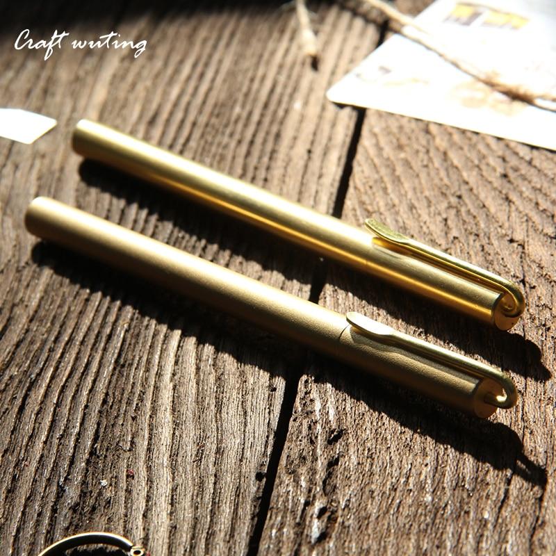0.55 cartridge Handmade metal pen, brass pen, neutral signature pen, retro signature pen, high-grade brassWriting stationery yoursfs   french high grade pen shape