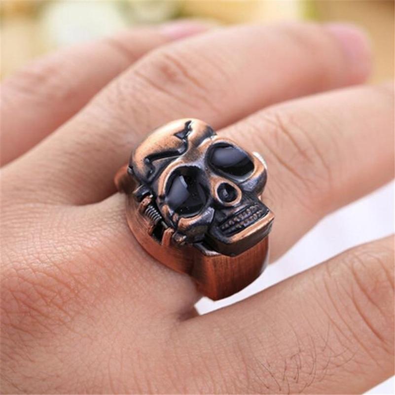 Mode Unisex Retro Vintage Finger Skull Ring Klocka Clamshell Watch - Fickur - Foto 3