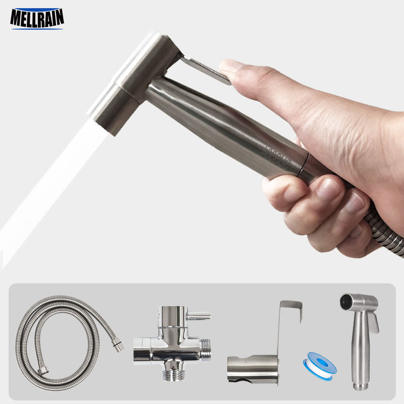 FREE SHIPPING Handheld Toilet bidet sprayer set Kit Stainless Steel Hand Bidet faucet for Bathroom hand sprayer shower head self cleaning bathroom