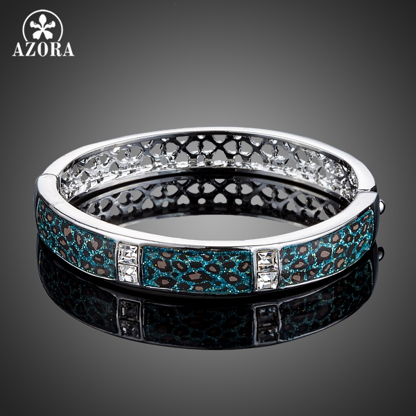 AZORA Blue Leopard Animal Pattern Stellux Austrian Crystal Bangle Bracelet for Women TB0074