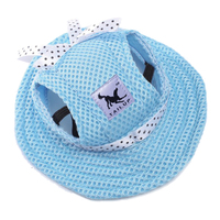 TAILUP 1 Blue Polyester Dog Sunscreen Hat Net Cloth Cat Dog Beach Cap Princess Hat S
