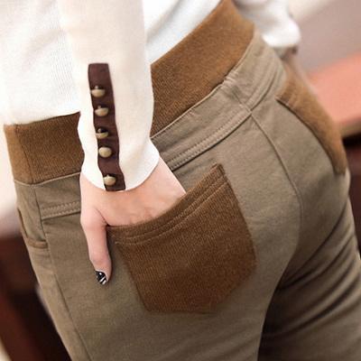 Las mujeres de Terciopelo Grueso Legging 2016 Otoño Invierno Mujer Pantalones Patchwork Lápiz Pantalones Femeninos Más El Tamaño S-4XL Leggings envios gratis