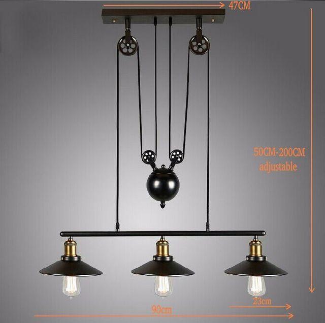 Ceiling Adjustable Lamp: Ceiling Lights Vintage American Country Loft Edison Wheel
