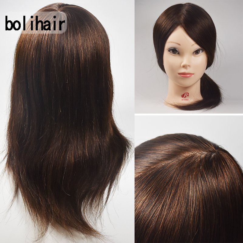 100% Real Human Hair Professional Styling Hairdressing Dolls Head Training Head Salon Mannequin Training Head Free Clamp
