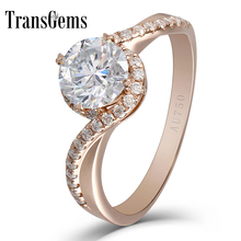 Transgems 14k White Gold 2 carat Diameter 8mm F Color  moissanite Engagement Ring For Women Solitare with accents Wedding Gifts