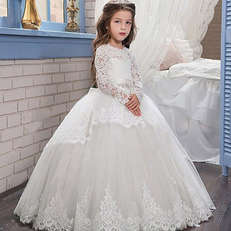 Lace Up Flower Girls Dresses for Wedding Ball Gown Spring Pretty Mother Daughter Dress Long Sleeve Pageant Dresses for Girls mother of the bride dresses ever pretty ep08775 2018 women elegant leaf sleeve design cap sleeve mother of the bride dresses