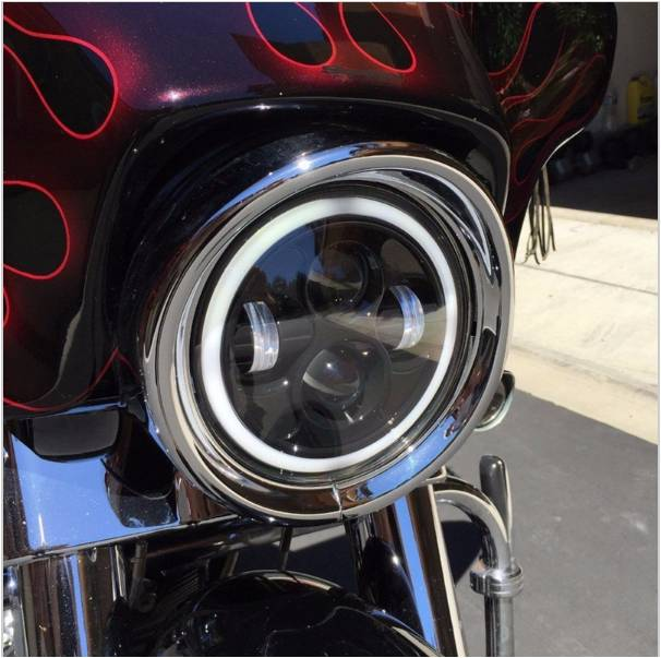ФОТО 1pcs 40W 7 inch Round Auto canbus LED Headlight 3600LM With High low beam angle eye LED Lamp Projector For Harley Davidson